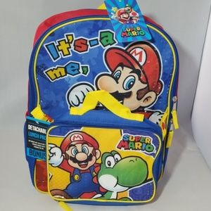 Nintendo super mario boys' backpack with lunch bag